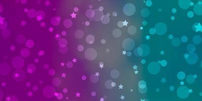 patrón de vector azul claro, rojo con círculos, estrellas.