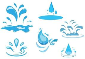 Set of Water Drop and Splash of Sparkling Blue Icon Illustration vector