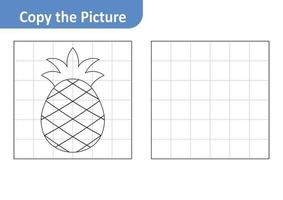 Copy the picture worksheet for kids, pineapple vector