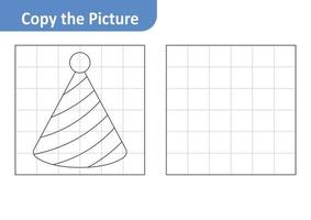 Copy the picture worksheet for kids, hat cone vector