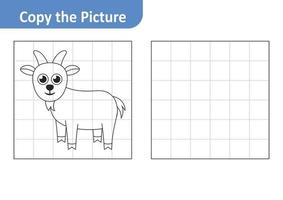 Copy the picture worksheet for kids, goat vector