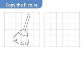 Copy the picture worksheet for kids, broom vector