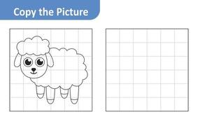Copy the picture worksheet for kids, sheep vector