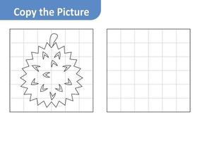 Copy the picture worksheet for kids, durian vector