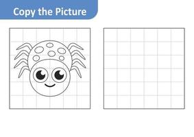 Copy the picture worksheet for kids, spider vector