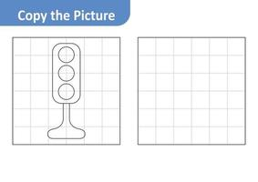 Copy the picture worksheet for kids, traffic light vector
