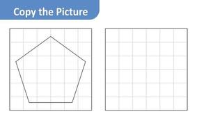 Copy the picture worksheet for kids, pentagon vector
