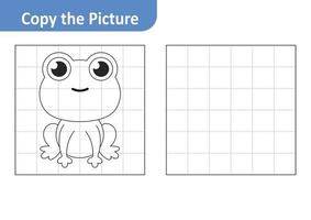 Copy the picture worksheet for kids, frog vector
