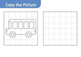 Copy the picture worksheet for kids, bus vector