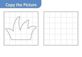 Copy the picture worksheet for kids, grass vector
