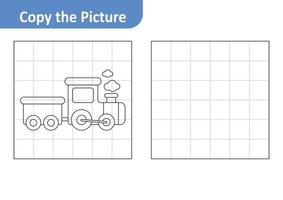 Copy the picture worksheet for kids, train vector