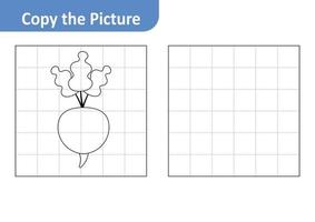 Copy the picture worksheet for kids, radish vector