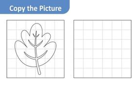 Copy the picture worksheet for kids, leaf vector