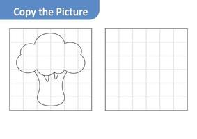 Copy the picture worksheet for kids, broccoli vector