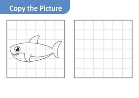 Copy the picture worksheet for kids, shark vector