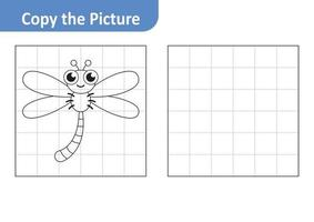 Copy the picture worksheet for kids, dragonfly vector