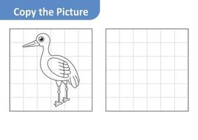 Copy the picture worksheet for kids, stork vector