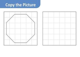 Copy the picture worksheet for kids, octagon vector