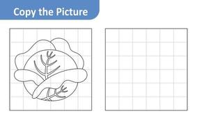 Copy the picture worksheet for kids, cabbage vector