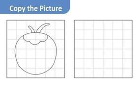Copy the picture worksheet for kids, coconut vector