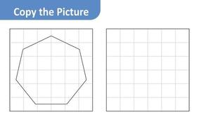 Copy the picture worksheet for kids, heptagon vector
