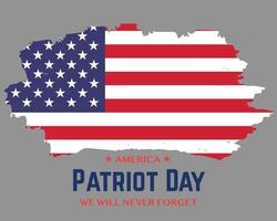 9 11 Patriot Day Brush Flag Vector