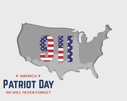 9 11 Patriot Day America Map Vector