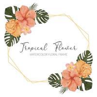 watercolor summer tropical hibiscus flower rustic border vector