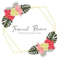 watercolor tropical hibiscus flower rustic frame with monstera vector