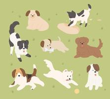 Cute dogs of different breeds are playing on the lawn. flat design style minimal vector illustration.