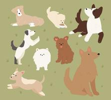 Cute dogs of different breeds are sitting or playing. flat design style minimal vector illustration.