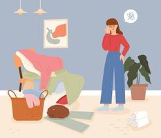 A woman with a headache looking at the pile of laundry. flat design style minimal vector illustration.