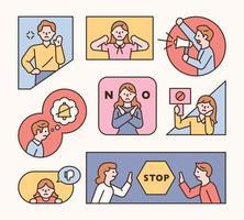 People making warning gestures in frames of various shapes. vector