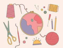 Embroidery frame and sewing tools vector