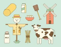 Rural farm objects. Scarecrows made from rice huts and milk from cows. outline simple vector illustration.