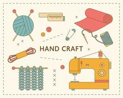máquina de coser y artículos de taller de tejido. cartel de taller de aserrado vector