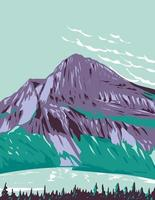 Hidden Lake with Bearhat Mountain in Background Located in Glacier National Park Montana USA WPA Poster Art vector