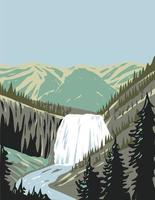 Gibbon Falls a Waterfall on the Gibbon River in Northwestern Yellowstone National Park Wyoming USA WPA Poster Art vector