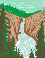 Kepler Cascades a Waterfall on the Firehole River in southwestern Yellowstone National Park Wyoming USA WPA Poster Art vector