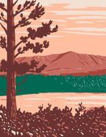 Mount Katahdin Maine North Woods and River Flowing in Katahdin Woods and Waters National Monument  Within Penobscot County Maine USA WPA Poster Art vector