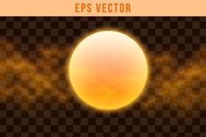 3D Shapes set eps vector orange colour glow sun shape object