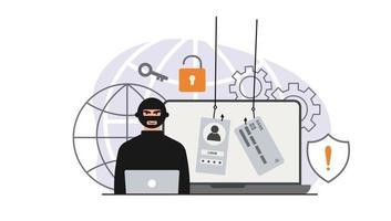 ataque de piratas informáticos. fraude con datos de usuario en redes sociales. robo de tarjetas de crédito o débito. phishing en Internet, nombre de usuario y contraseña pirateados. ciberdelincuencia y delincuencia. un ladrón en un sitio web en línea en Internet. vector
