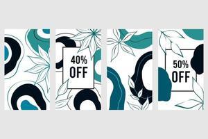 Fondo abstracto elegante plantilla de banner de redes sociales conjunto de vectores botánicos dibujo floral con forma abstracta