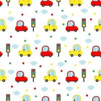 Seamless pattern with colorful cars and traffic lights. vector