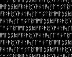 Ethnic Norwegian Icelandic seamless pattern. Runic talismans of the Vikings and northern peoples. Magic and magical runes. Pagan signs. Futhark repeatable background. Vector illustration.