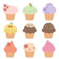 conjunto de lindos muffins y cupcakes en vector