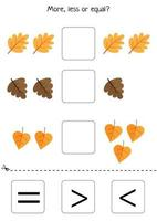 Educational worksheet for kids. Games for kids. Printable pages for preschool children. Math game. More or less or equal. Counting game. Set of autumn leaves. Comparison for kids vector