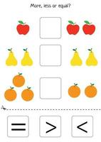 More or less or equal. Counting game. Set of fruits. Comparison for kids vector