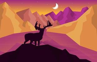 Deer Mountain Peak Pine Trees Nature Landscape Adventure Illustration vector