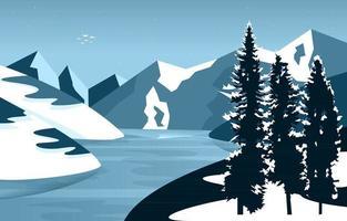 Frozen Lake Winter Ice Mountain Pine Nature Landscape Illustration vector